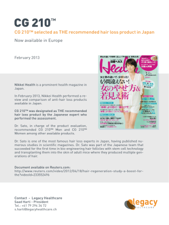 CG 210™ selected as THE recommended hair loss product in Japan