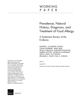 Prevalence, Natural History, Diagnosis, and Treatment of Food Allergy