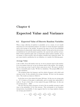 Chapter 6 Expected Value and Variance