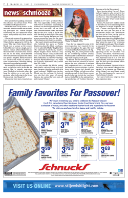 Family Favorites For Passover! - Better Newspaper Contest