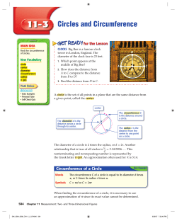 Circles and Circumference – Use before Lesson 10-2A - Glencoe