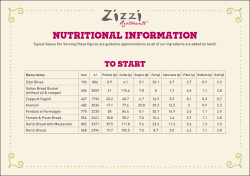 NUTRITIONAL INFORMATION - Zizzi