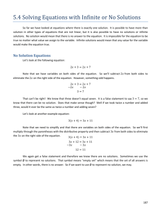 5.4 Solving Equations with Infinite or No Solutions