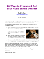 70 Ways to Promote Your Music Online - Bob Baker