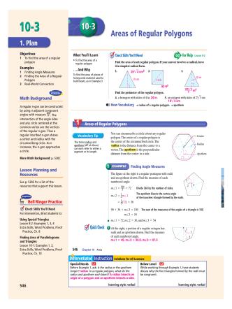 10-3 Areas of Regular Polygons