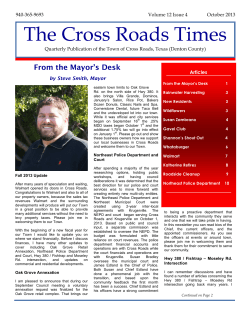 The Cross Roads Times - October 2013 - Town of Cross Roads