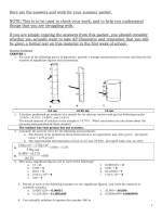 AP Chemistry Summer Packet Answers