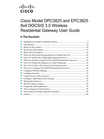 Cisco Model DPC3825 and EPC3825 8x4 DOCSIS 3.0 Wireless