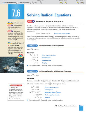 7.6 Solving Radical Equations - ClassZone