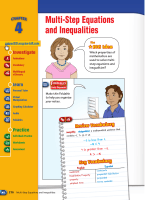 Multi-Step Equations and Inequalities - Glencoe