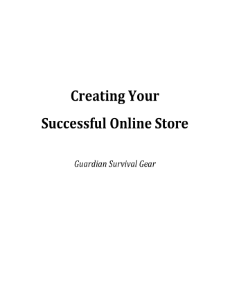 Creating Your Successful Online Store - Guardian Survival Gear