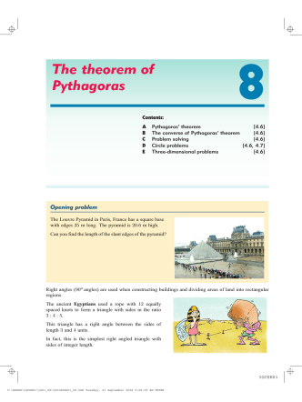 8. The theorem of Pythagoras - Haese Mathematics
