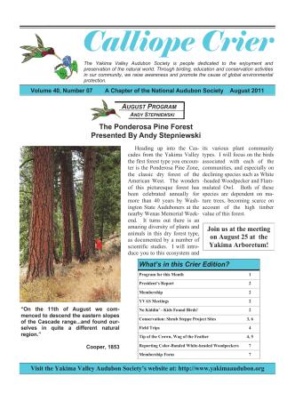 Crier August 2011 - Yakima Valley Audubon Society