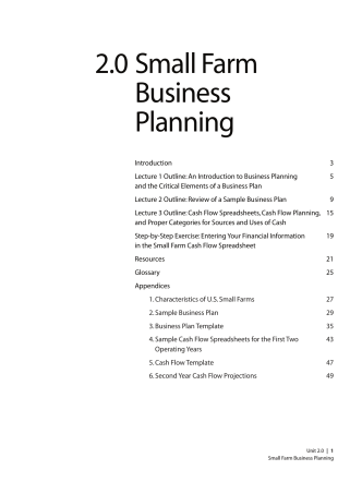 2.0 Small Farm Business Planning - Center for Agroecology