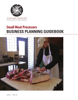 Small Meat Processors BUSINESS PLANNING GUIDEBOOK