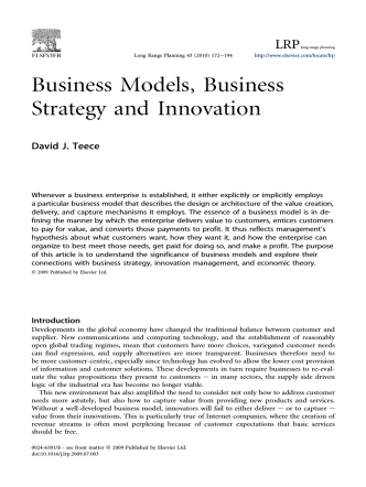Business Models, Business Strategy and Innovation