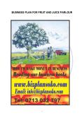 BUSINESS PLAN FOR FRUIT AND JUICE PARLOUR - Bizplansoko