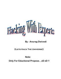 Hacking With Experts By Anurag Dwivedi