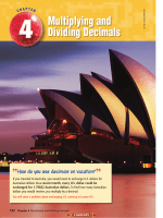 Chapter 4: Multiplying and Dividing Decimals