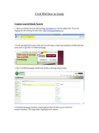 CiviCRM How to Guide - Green Party of Canada