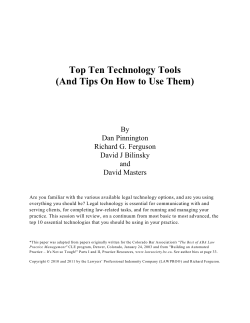 Top Ten Technology Tools (And Tips On How to - practicePRO.ca