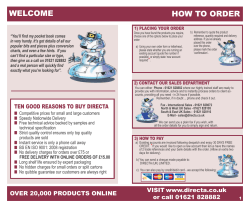 WELCOME HOW TO ORDER - Directa UK Ltd