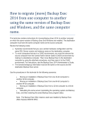 How to migrate (move) Backup Exec 2014 from one - Symantec