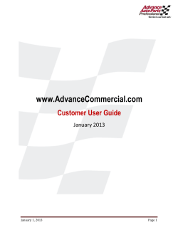 Section 1: How to Login - Advance Auto Parts Commercial
