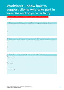 Worksheet – Know how to support clients who take part in exercise