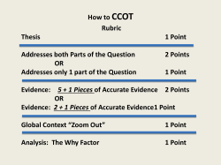 How to CCOT Rubric Thesis 1 Point Addresses both Parts of the