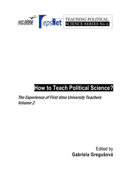 How to Teach Political Science? - Teaching and Learning Politics