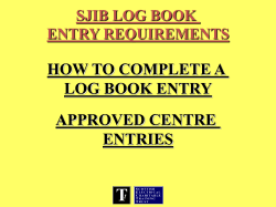 HOW TO COMPLETE A LOG BOOK ENTRY APPROVED - sectt