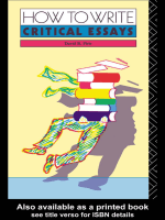How to Write Critical Esays: A Guide for Students of Literature