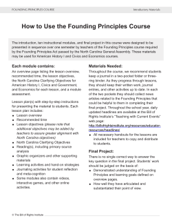 How to Use the Founding Principles Course - NC Social Studies