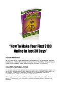How To Make Your First $100 Online In Just 30 Days