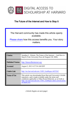 The Future of the Internet and How to Stop It The Harvard community