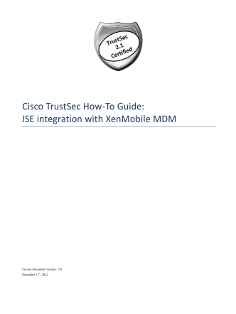 Cisco TrustSec How-To Guide: ISE integration with XenMobile MDM