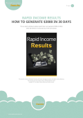 RAPID INCOME RESULTS HOW TO GENERATE $3000 IN 30 DAYS