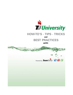 HOW-TOS - TIPS - TRICKS BEST PRACTICES - TeamUnify