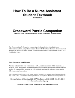 How To Be A Nurse Assistant Student Textbook - Crossword Puzzle