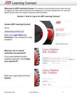 Section I: How to Log on to ADP Learning Connect Access ADP