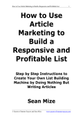 How to Use Article Marketing to Build a Responsive List