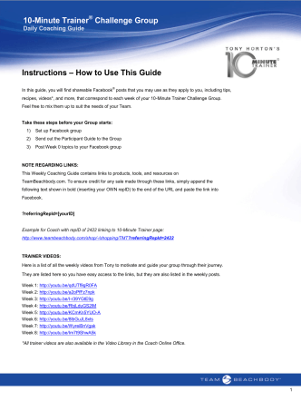 10-Minute Trainer Challenge Group Instructions – How to - Coach