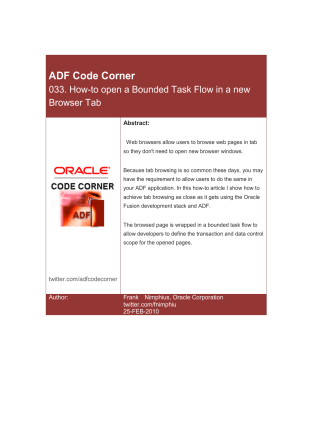ADF Code Corner: How-to open a Bounded Task Flow in a - Oracle