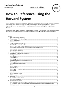 How to Reference using the Harvard System - My LSBU - London