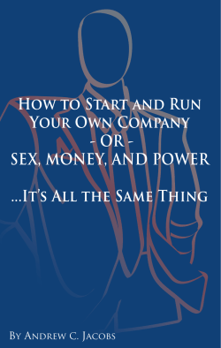 How to Start and Run Your Own Company - OR - SEX, MONEY