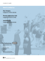 How to contact us Day Surgery Telephone 01709 426500 Theatre