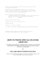 HOW TO WRITE SPECIAL FEATURE ARTICLES - Ning