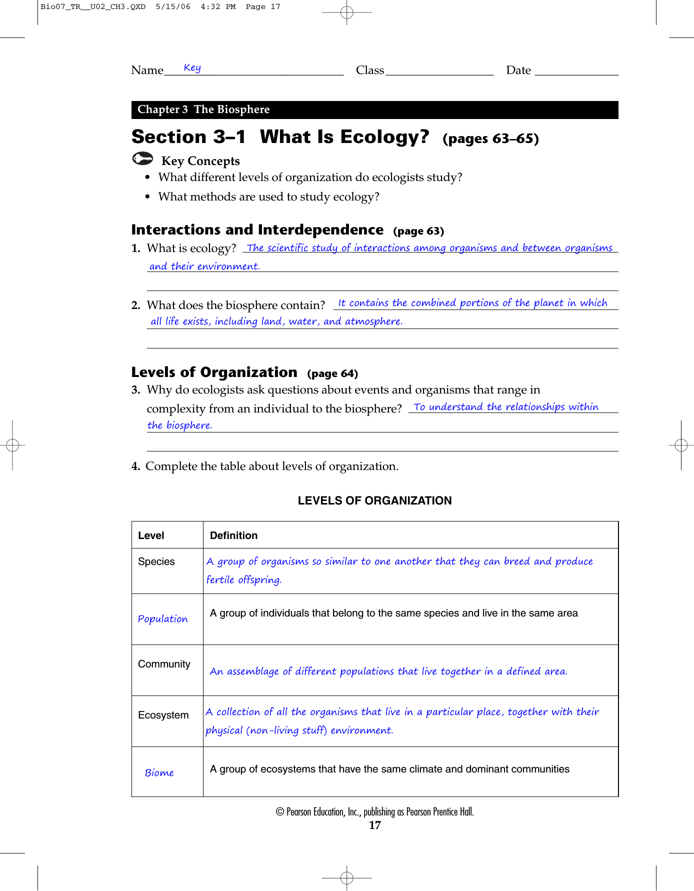 Chapter 3 Principles Of Ecology Worksheet Answers ...