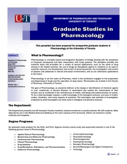 CONTACT: The Department: What is Pharmacology? Degree